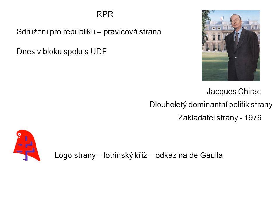 RPR Sdružení pro republiku – pravicová strana Dnes v bloku spolu s UDF Jacques Chirac Dlouholetý dominantní politik strany Zakladatel strany - 1976 Logo strany – lotrinský kříž – odkaz na de Gaulla
