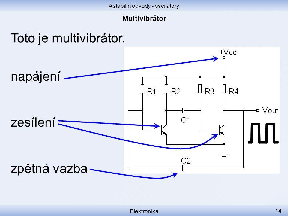 Astabilní obvody - oscilátory Elektronika 14 Toto je multivibrátor. napájení zesílení zpětná vazba