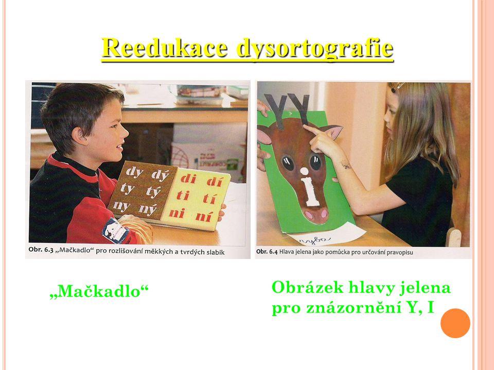 """Reedukace dysortografie """"Mačkadlo"""" Obrázek hlavy jelena pro znázornění Y, I"""