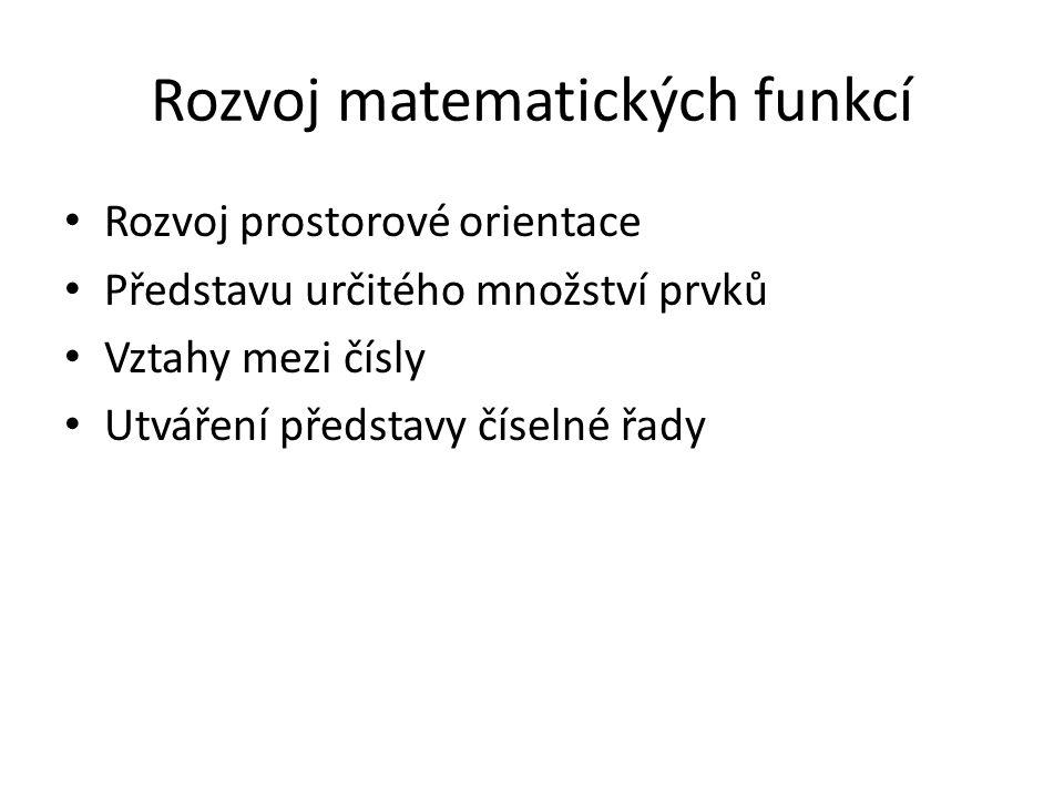 Rozvoj matematických funkcí Rozvoj prostorové orientace Představu určitého množství prvků Vztahy mezi čísly Utváření představy číselné řady
