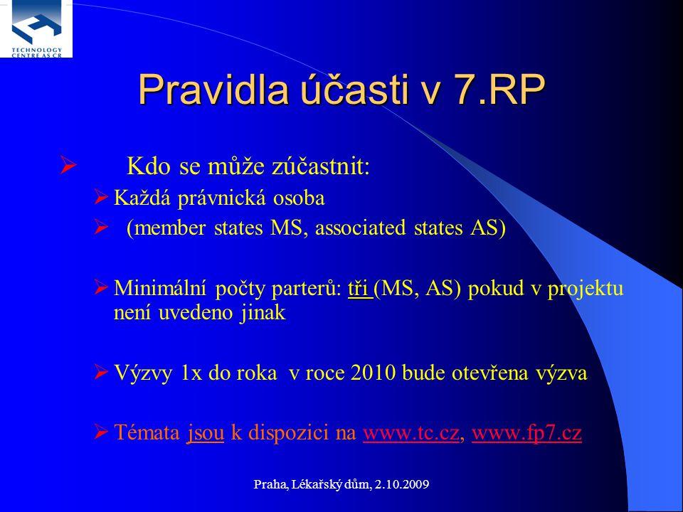 Pravidla účasti v 7.RP  Kdo se může zúčastnit:  Každá právnická osoba  (member states MS, associated states AS) tři  Minimální počty parterů: tři (MS, AS) pokud v projektu není uvedeno jinak  Výzvy 1x do roka v roce 2010 bude otevřena výzva  Témata jsou k dispozici na www.tc.cz, www.fp7.czwww.tc.czwww.fp7.cz