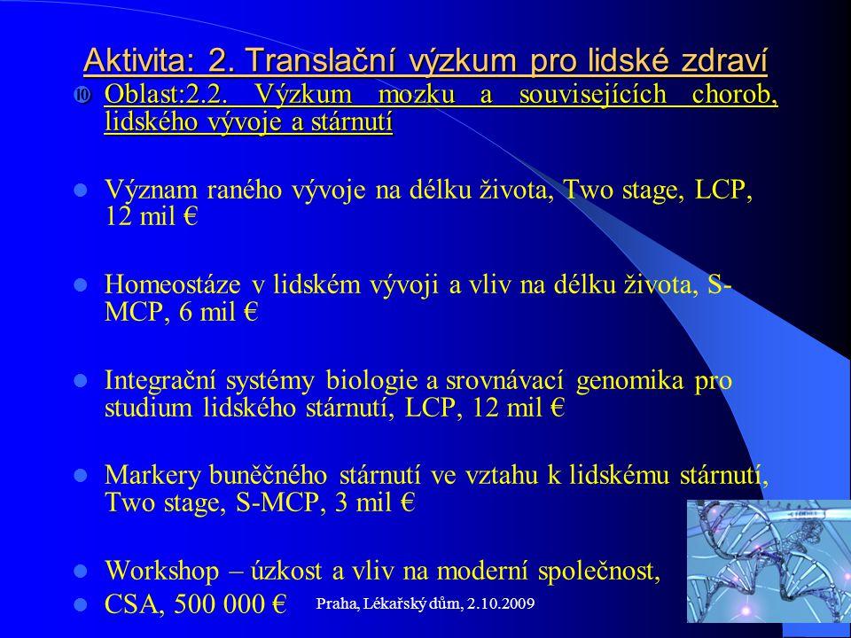 Praha, Lékařský dům, 2.10.2009 Informační zabezpečení Informační zabezpečení RTD Info (Magazine of European Research) http://ec.europa.eu/research/rtdinfo.html http://ec.europa.eu/research/rtdinfo.html CORDIS (Community Research and Development Information Service) http://cordis.europa.eu/news/focus http://ec.europa.eu/research 7FP http://cordis.europa.eu/fp7http://cordis.europa.eu/fp7 7RP www.fp7.czwww.fp7.cz ECHO – časopis pro evropský výzkum TC AV ČR www.tc.cz