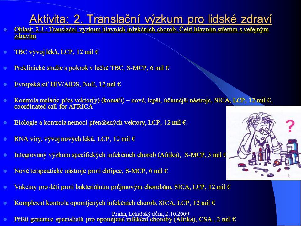 Praha, Lékařský dům, 2.10.2009 Aktivita: 2.Translační výzkum pro lidské zdraví Oblast: 2.4.