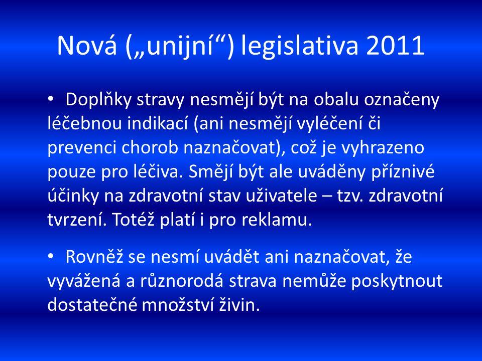 """Nová (""""unijní"""") legislativa 2011 Doplňky stravy nesmějí být na obalu označeny léčebnou indikací (ani nesmějí vyléčení či prevenci chorob naznačovat),"""