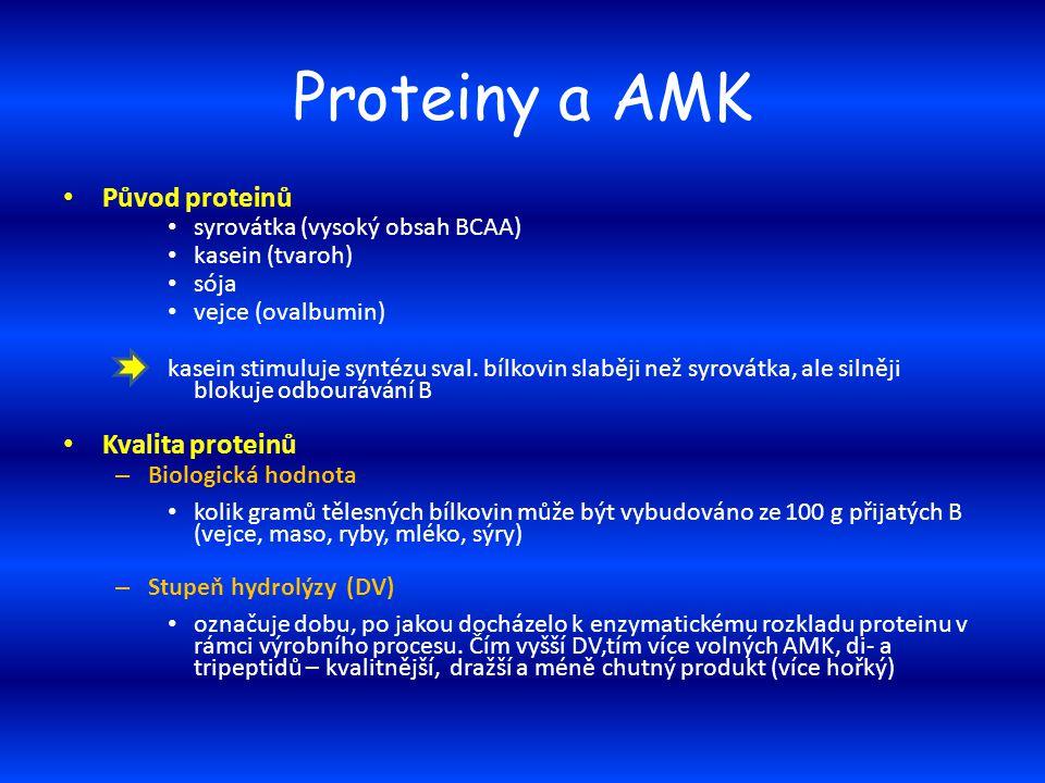 Proteiny a AMK Původ proteinů syrovátka (vysoký obsah BCAA) kasein (tvaroh) sója vejce (ovalbumin) kasein stimuluje syntézu sval. bílkovin slaběji než