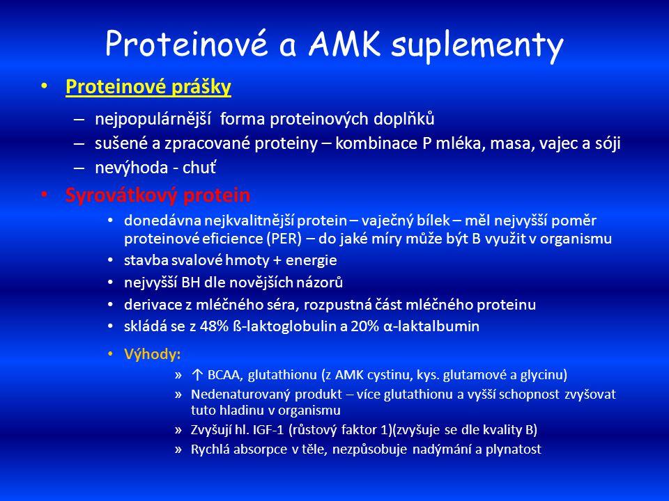 Proteinové a AMK suplementy Proteinové prášky – nejpopulárnější forma proteinových doplňků – sušené a zpracované proteiny – kombinace P mléka, masa, v
