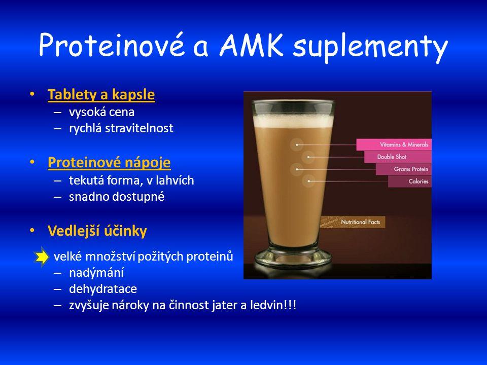Proteinové a AMK suplementy Tablety a kapsle – vysoká cena – rychlá stravitelnost Proteinové nápoje – tekutá forma, v lahvích – snadno dostupné Vedlej