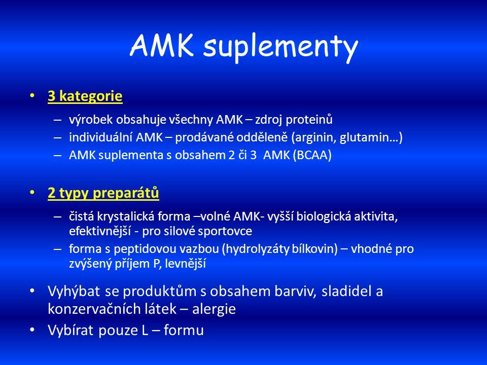 AMK suplementy 3 kategorie – výrobek obsahuje všechny AMK – zdroj proteinů – individuální AMK – prodávané odděleně (arginin, glutamin…) – AMK suplemen