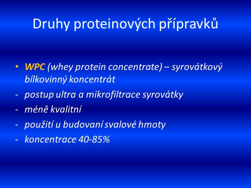 Druhy proteinových přípravků WPC (whey protein concentrate) – syrovátkový bílkovinný koncentrát -postup ultra a mikrofiltrace syrovátky -méně kvalitní