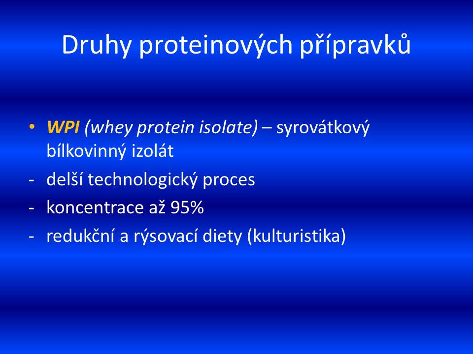 Druhy proteinových přípravků WPI (whey protein isolate) – syrovátkový bílkovinný izolát -delší technologický proces -koncentrace až 95% -redukční a rý