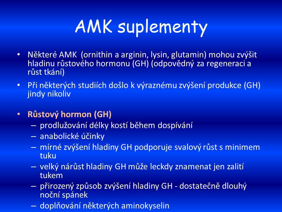 AMK suplementy Některé AMK (ornithin a arginin, lysin, glutamin) mohou zvýšit hladinu růstového hormonu (GH) (odpovědný za regeneraci a růst tkání) Př