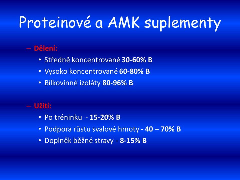 Proteinové a AMK suplementy – Dělení: Středně koncentrované 30-60% B Vysoko koncentrované 60-80% B Bílkovinné izoláty 80-96% B – Užití: Po tréninku -