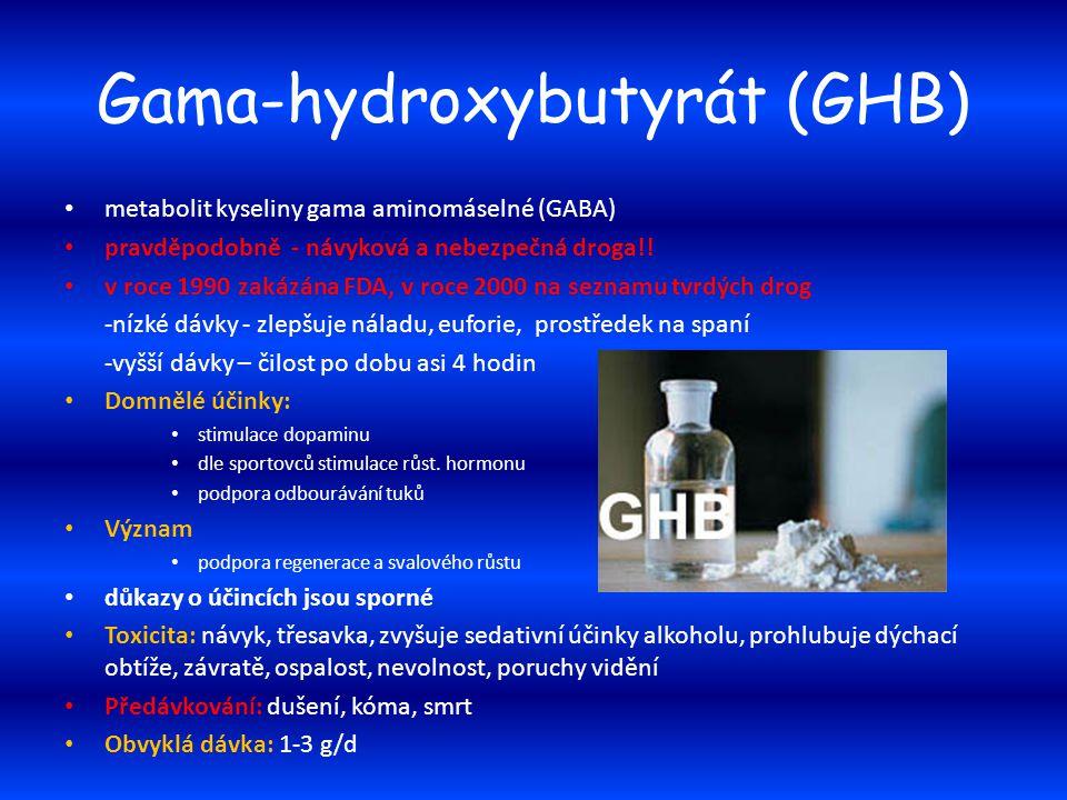 Gama-hydroxybutyrát (GHB) metabolit kyseliny gama aminomáselné (GABA) pravděpodobně - návyková a nebezpečná droga!! v roce 1990 zakázána FDA, v roce 2