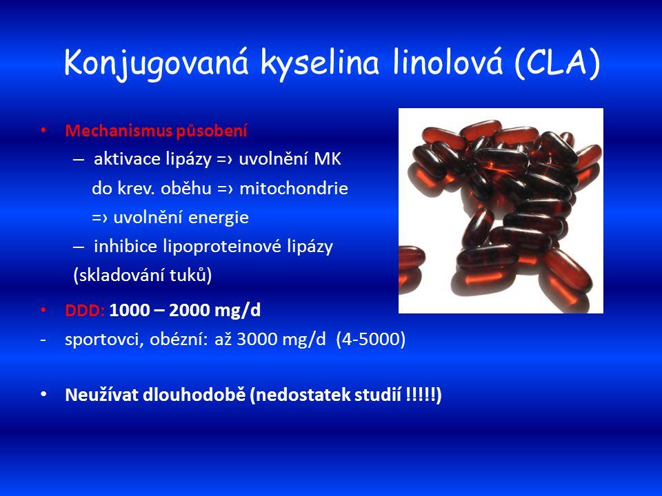 Konjugovaná kyselina linolová (CLA) Mechanismus působení – aktivace lipázy =› uvolnění MK do krev. oběhu =› mitochondrie =› uvolnění energie – inhibic