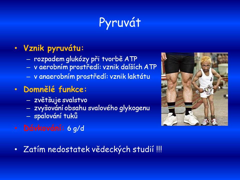 Pyruvát Vznik pyruvátu: – rozpadem glukózy při tvorbě ATP – v aerobním prostředí: vznik dalších ATP – v anaerobním prostředí: vznik laktátu Domnělé fu