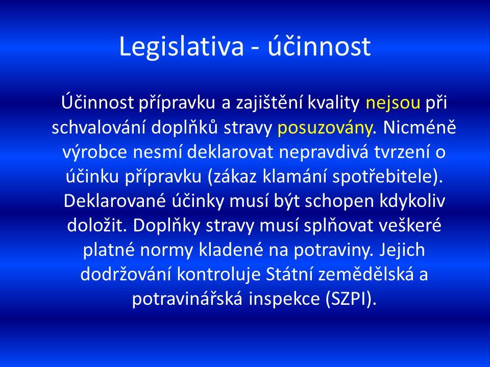 Legislativa - účinnost Účinnost přípravku a zajištění kvality nejsou při schvalování doplňků stravy posuzovány. Nicméně výrobce nesmí deklarovat nepra