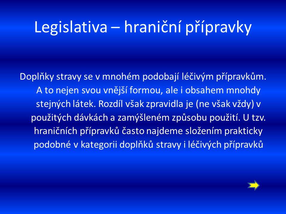 Legislativa hraniční přípravky (typicky např.