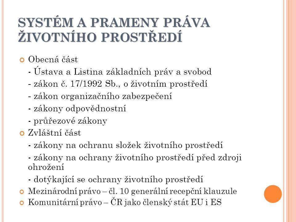 SYSTÉM A PRAMENY PRÁVA ŽIVOTNÍHO PROSTŘEDÍ Obecná část - Ústava a Listina základních práv a svobod - zákon č.