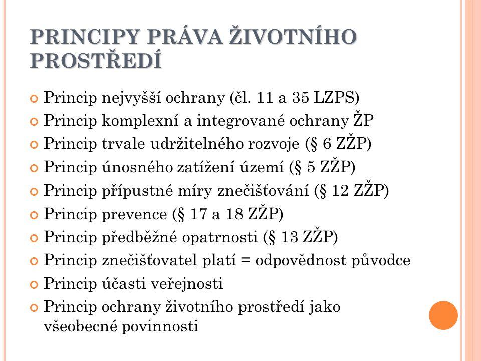 PRINCIPY PRÁVA ŽIVOTNÍHO PROSTŘEDÍ Princip nejvyšší ochrany (čl.