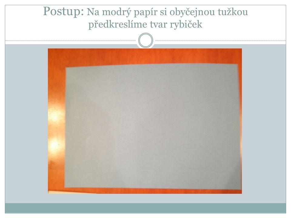 Postup: Na modrý papír si obyčejnou tužkou předkreslíme tvar rybiček