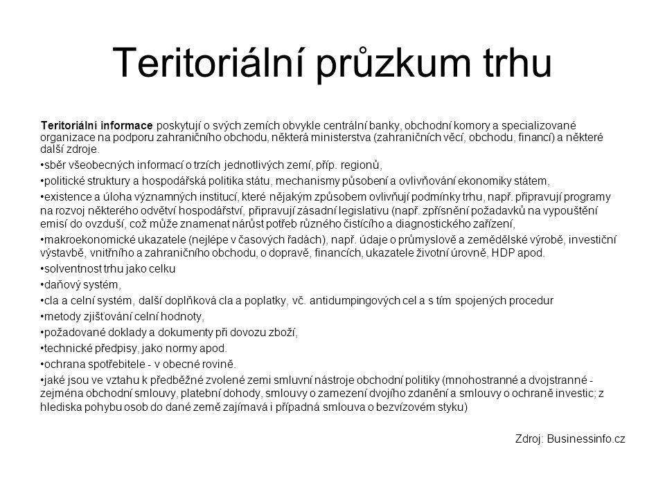 Teritoriální průzkum trhu Teritoriální informace poskytují o svých zemích obvykle centrální banky, obchodní komory a specializované organizace na podp