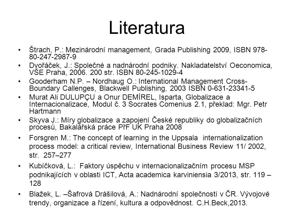 Literatura Štrach, P.: Mezinárodní management, Grada Publishing 2009, ISBN 978- 80-247-2987-9 Dvořáček, J.: Společné a nadnárodní podniky. Nakladatels