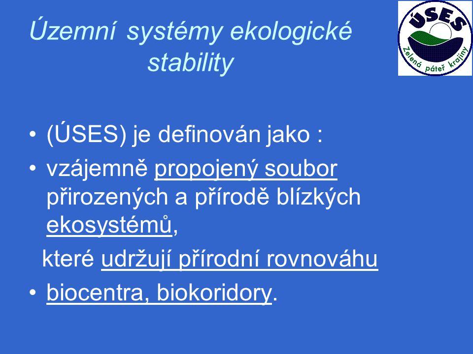 Územní systémy ekologické stability (ÚSES) je definován jako : vzájemně propojený soubor přirozených a přírodě blízkých ekosystémů, které udržují přírodní rovnováhu biocentra, biokoridory.