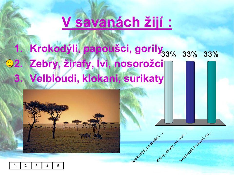 V savanách žijí : 1.Krokodýli, papoušci, gorily 2.Zebry, žirafy, lvi, nosorožci 3.Velbloudi, klokani, surikaty 12345