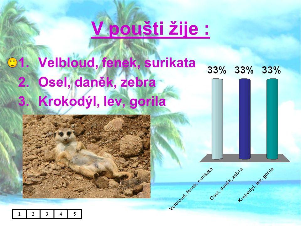 V poušti žije : 12345 1.Velbloud, fenek, surikata 2.Osel, daněk, zebra 3.Krokodýl, lev, gorila