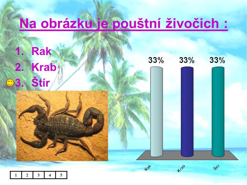 Na obrázku je pouštní živočich : 12345 1.Rak 2.Krab 3.Štír