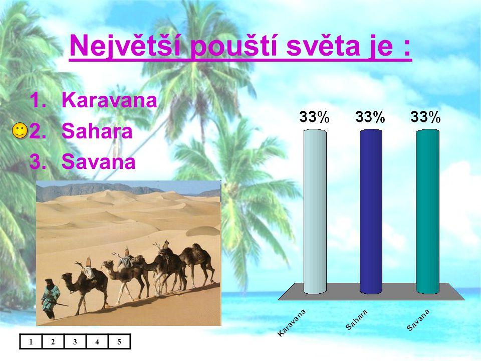Největší pouští světa je : 12345 1.Karavana 2.Sahara 3.Savana