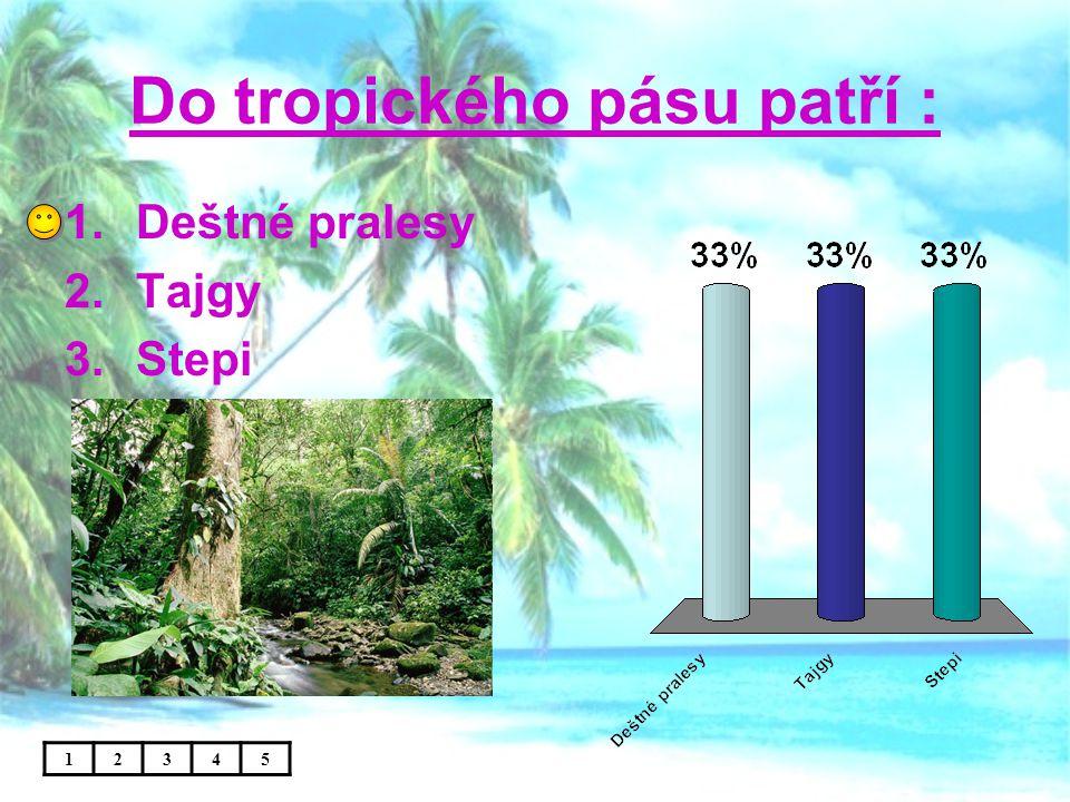 Do tropického pásu patří : 1.Deštné pralesy 2.Tajgy 3.Stepi 12345