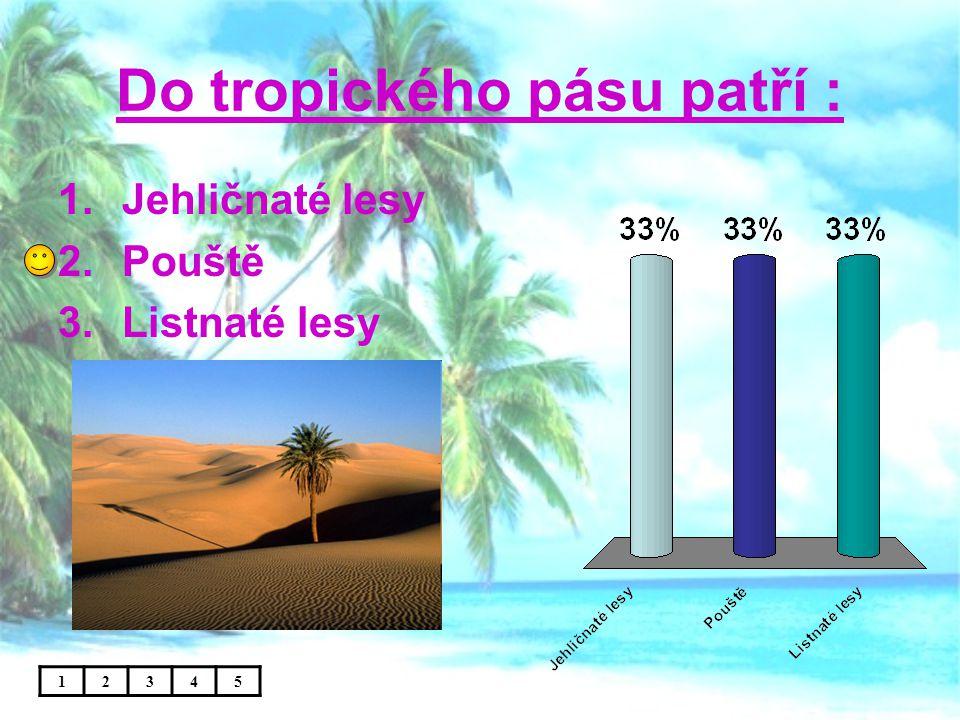 Počasí tropických deštných lesů : 1.Vlhko, teplo, stále prší 2.Vlhko, zima, sucho 3.Vlhko, teplo, sucho 12345