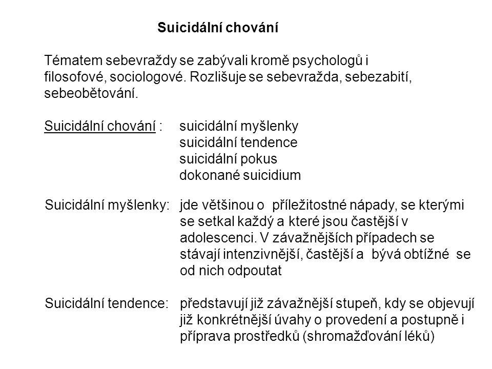 Suicidální chování Tématem sebevraždy se zabývali kromě psychologů i filosofové, sociologové.