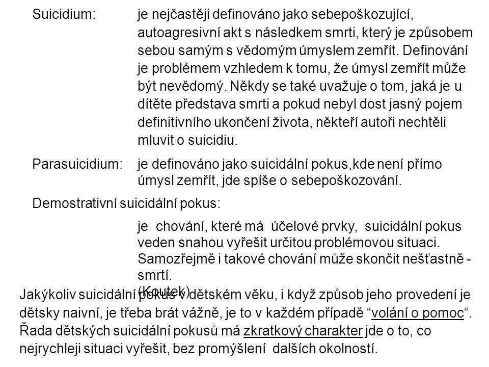 Suicidium: je nejčastěji definováno jako sebepoškozující, autoagresivní akt s následkem smrti, který je způsobem sebou samým s vědomým úmyslem zemřít.