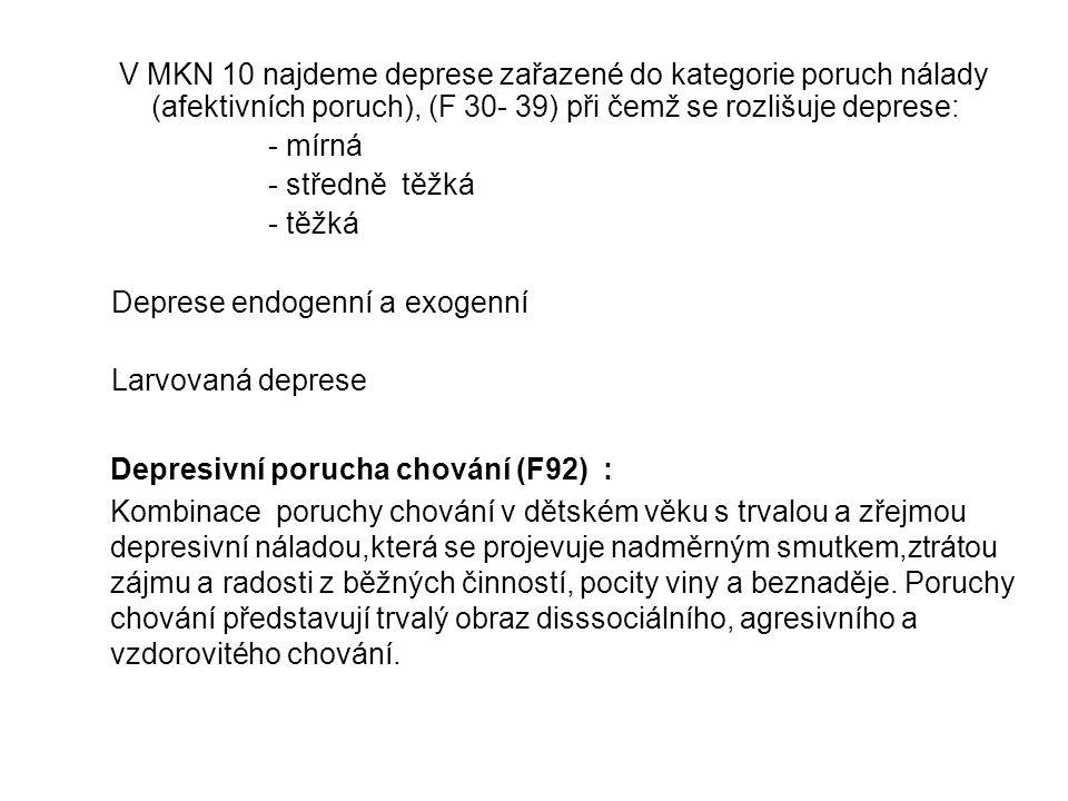 V MKN 10 najdeme deprese zařazené do kategorie poruch nálady (afektivních poruch), (F 30- 39) při čemž se rozlišuje deprese: - mírná - středně těžká - těžká Deprese endogenní a exogenní Larvovaná deprese Depresivní porucha chování (F92) : Kombinace poruchy chování v dětském věku s trvalou a zřejmou depresivní náladou,která se projevuje nadměrným smutkem,ztrátou zájmu a radosti z běžných činností, pocity viny a beznaděje.