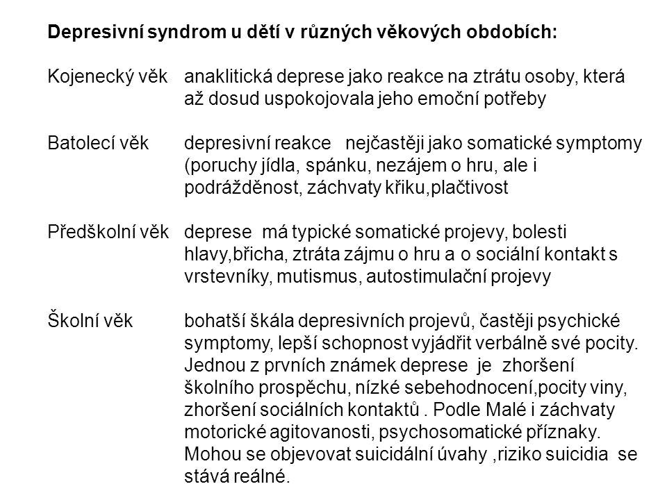 Depresivní syndrom u dětí v různých věkových obdobích: Kojenecký věk anaklitická deprese jako reakce na ztrátu osoby, která až dosud uspokojovala jeho emoční potřeby Batolecí věk depresivní reakce nejčastěji jako somatické symptomy (poruchy jídla, spánku, nezájem o hru, ale i podrážděnost, záchvaty křiku,plačtivost Předškolní věk deprese má typické somatické projevy, bolesti hlavy,břicha, ztráta zájmu o hru a o sociální kontakt s vrstevníky, mutismus, autostimulační projevy Školní věk bohatší škála depresivních projevů, častěji psychické symptomy, lepší schopnost vyjádřit verbálně své pocity.