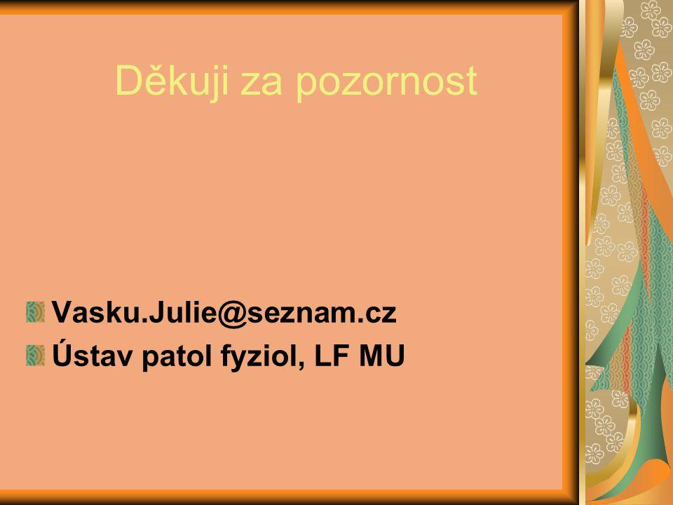 Děkuji za pozornost Vasku.Julie@seznam.cz Ústav patol fyziol, LF MU