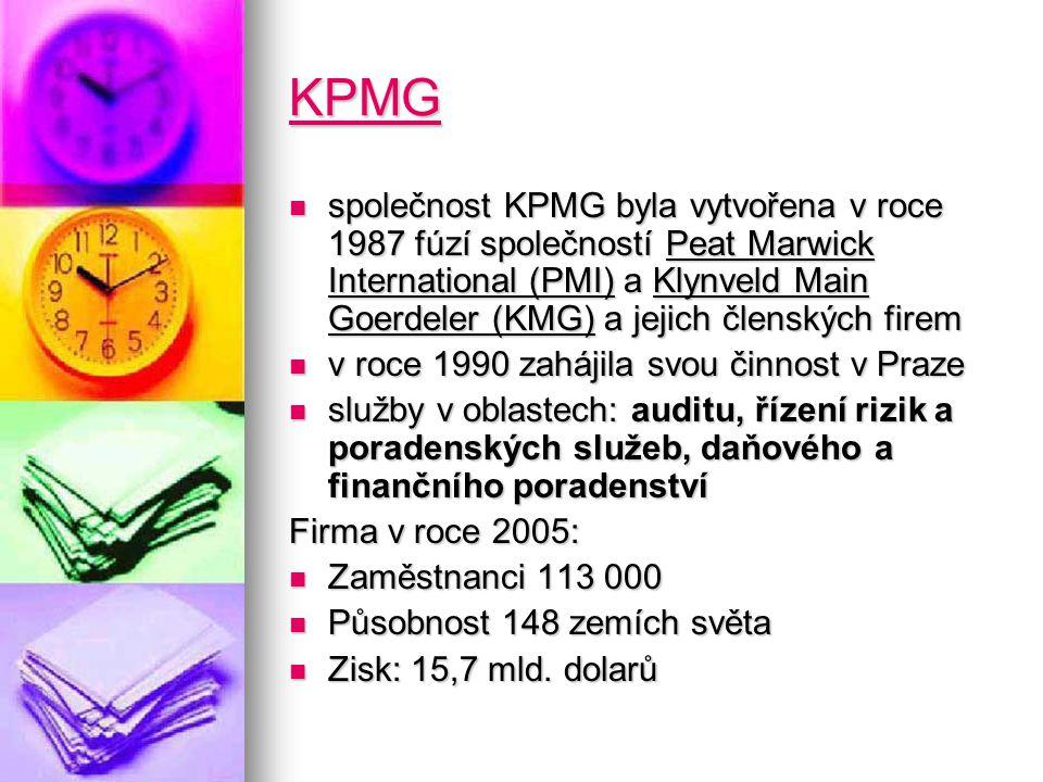 KPMG společnost KPMG byla vytvořena v roce 1987 fúzí společností Peat Marwick International (PMI) a Klynveld Main Goerdeler (KMG) a jejich členských firem společnost KPMG byla vytvořena v roce 1987 fúzí společností Peat Marwick International (PMI) a Klynveld Main Goerdeler (KMG) a jejich členských firem v roce 1990 zahájila svou činnost v Praze v roce 1990 zahájila svou činnost v Praze služby v oblastech: auditu, řízení rizik a poradenských služeb, daňového a finančního poradenství služby v oblastech: auditu, řízení rizik a poradenských služeb, daňového a finančního poradenství Firma v roce 2005: Zaměstnanci 113 000 Zaměstnanci 113 000 Působnost 148 zemích světa Působnost 148 zemích světa Zisk: 15,7 mld.