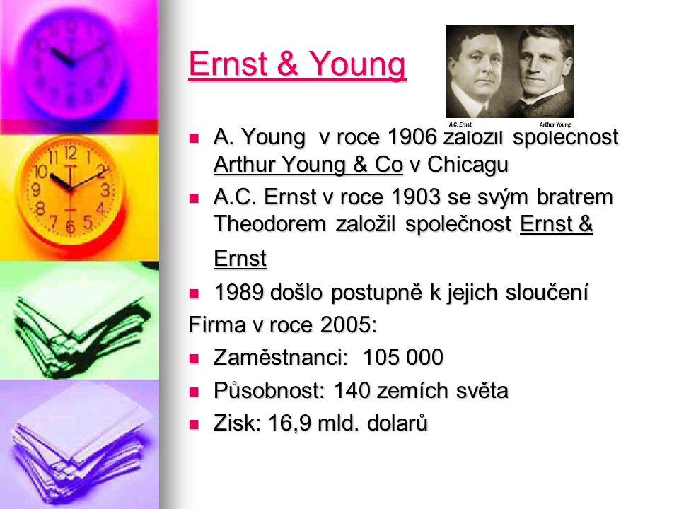 Ernst & Young Ernst & Young A. Young v roce 1906 založil společnost Arthur Young & Co v Chicagu A.