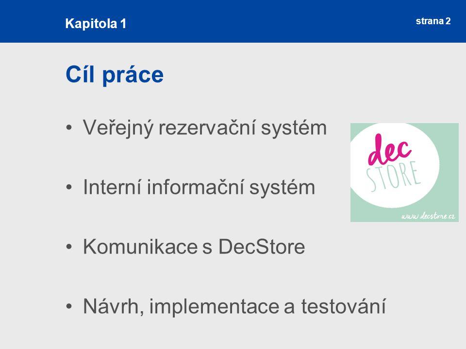 strana 2 Cíl práce Veřejný rezervační systém Interní informační systém Komunikace s DecStore Návrh, implementace a testování Kapitola 1