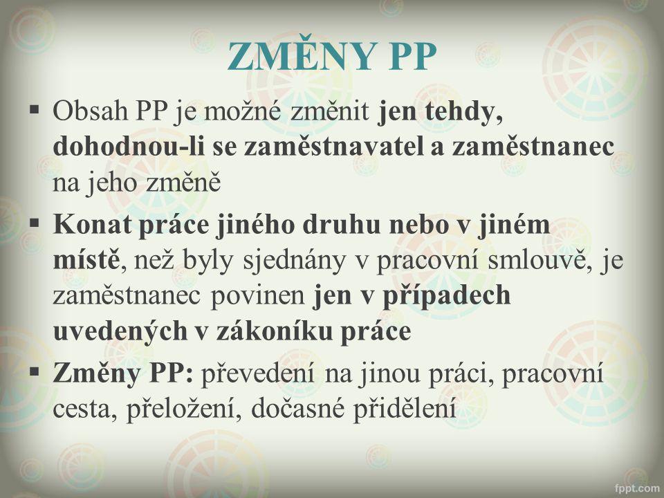 ZMĚNY PP  Obsah PP je možné změnit jen tehdy, dohodnou-li se zaměstnavatel a zaměstnanec na jeho změně  Konat práce jiného druhu nebo v jiném místě,