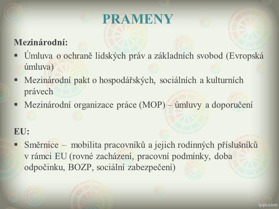 PRAMENY Mezinárodní:  Úmluva o ochraně lidských práv a základních svobod (Evropská úmluva)  Mezinárodní pakt o hospodářských, sociálních a kulturníc
