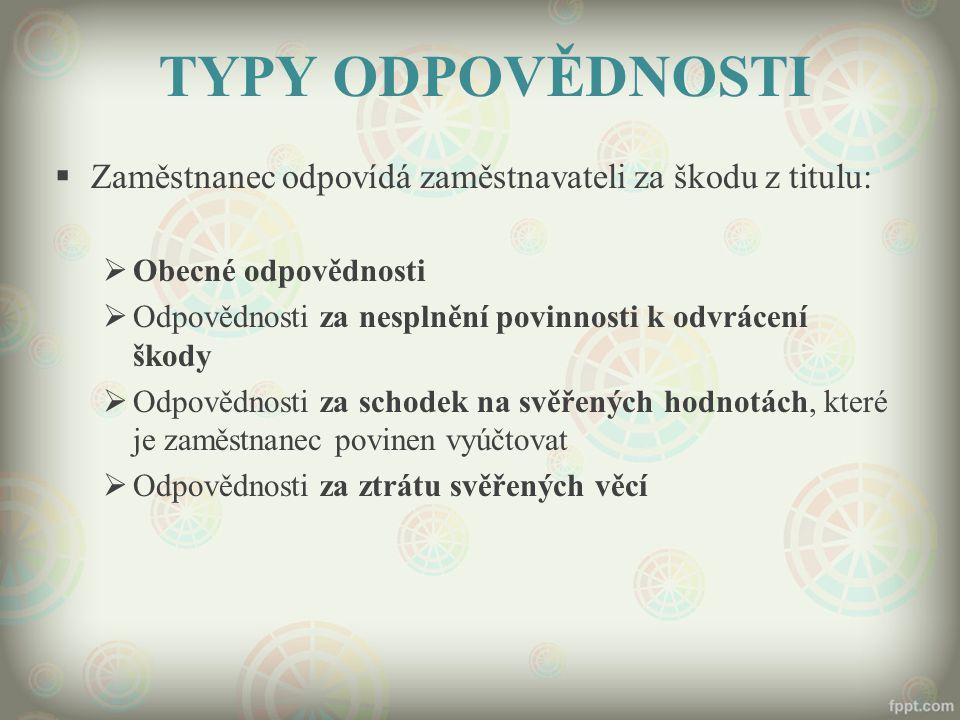 TYPY ODPOVĚDNOSTI  Zaměstnanec odpovídá zaměstnavateli za škodu z titulu:  Obecné odpovědnosti  Odpovědnosti za nesplnění povinnosti k odvrácení šk