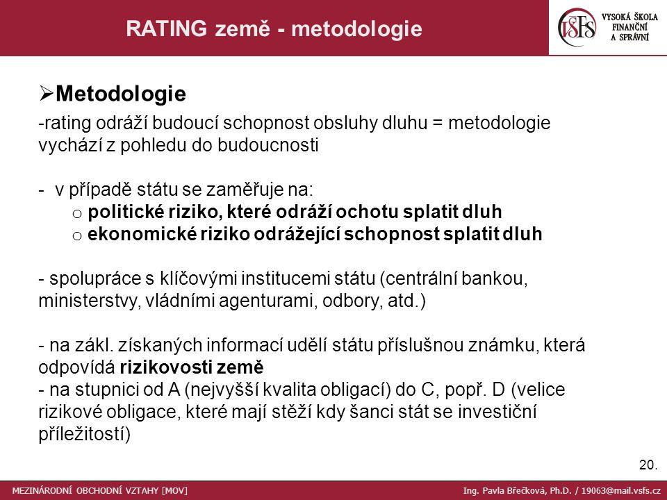 20. RATING země - metodologie  Metodologie -rating odráží budoucí schopnost obsluhy dluhu = metodologie vychází z pohledu do budoucnosti - v případě