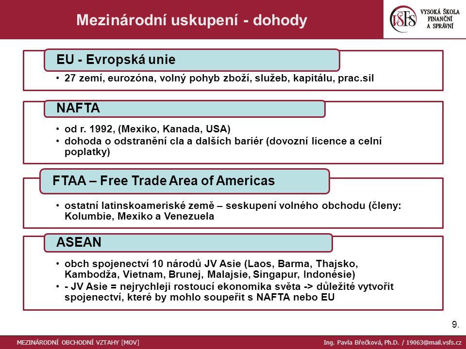 Celní předpisy = souhrn všech požadavků, jejichž splnění je nutné pro projednání zboží přecházející přes hranice státu Clo = dávka (poplatek), vybíraná státem při přechodu zboží přes jeho celní hranici, a to buď při dovozu zboží do jeho celního území (dovozní clo), nebo naopak při vývozu zboží z jeho celního území do celní ciziny (vývozní clo) TARIFNÍ překážky (celní opatření) Určují objem výrobků, které lze do dané země dovézt Kvóty mají většinou hodnotový charakter Dovozní KVÓTY Intervence / Dotace / Zvýhodňování domácích DOD / Admin.