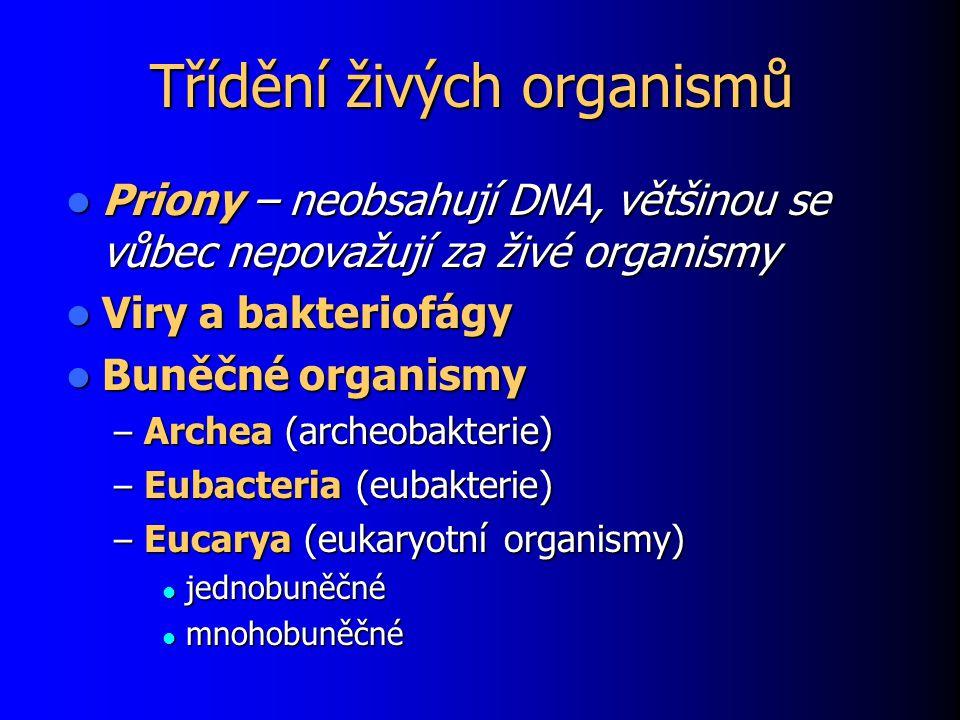 Třídění živých organismů Priony – neobsahují DNA, většinou se vůbec nepovažují za živé organismy Priony – neobsahují DNA, většinou se vůbec nepovažují za živé organismy Viry a bakteriofágy Viry a bakteriofágy Buněčné organismy Buněčné organismy – Archea (archeobakterie) – Eubacteria (eubakterie) – Eucarya (eukaryotní organismy) jednobuněčné jednobuněčné mnohobuněčné mnohobuněčné