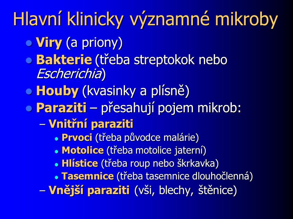 Hlavní klinicky významné mikroby Viry (a priony) Viry (a priony) Bakterie (třeba streptokok nebo Escherichia) Bakterie (třeba streptokok nebo Escheric