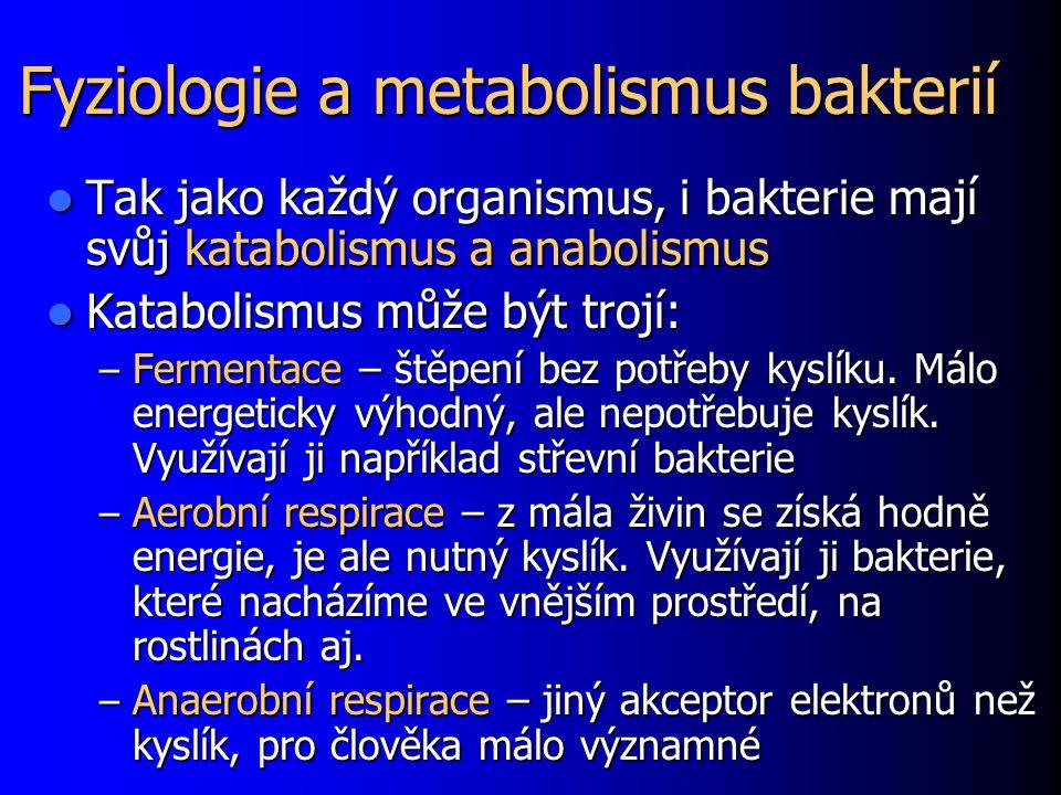 Fyziologie a metabolismus bakterií Tak jako každý organismus, i bakterie mají svůj katabolismus a anabolismus Tak jako každý organismus, i bakterie mají svůj katabolismus a anabolismus Katabolismus může být trojí: Katabolismus může být trojí: – Fermentace – štěpení bez potřeby kyslíku.