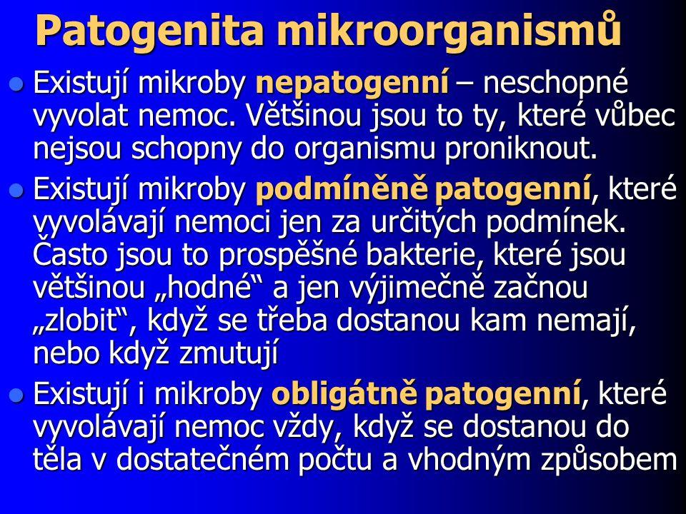 Patogenita mikroorganismů Existují mikroby nepatogenní – neschopné vyvolat nemoc. Většinou jsou to ty, které vůbec nejsou schopny do organismu pronikn